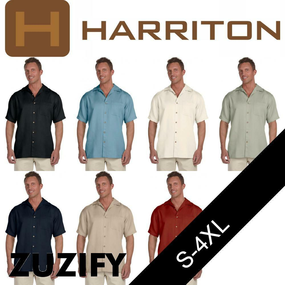 Harriton Mens Bahama Cord Camp Shirt. M570