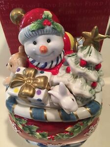 Fitz And Floyd  Christmas Snowman Candy Jar
