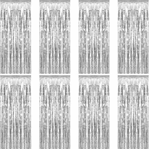 Sumind 8 Pack Foil Curtains Fringe Curtains Tinsel Backdrop Metallic Curtains Fo