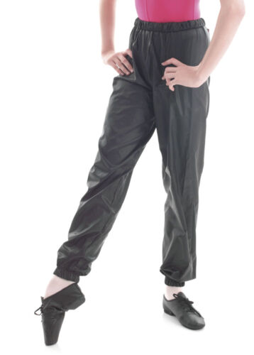 Ladies Girls Black Dance Nylon Ripstop Warm Up Sweat Pants By Katz KDP001
