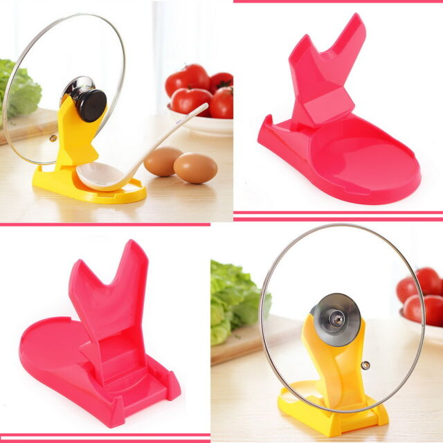 Useful Spoon Pot Lid Shelf Cooking Storage Kitchen Decor Tool Stand Holder LO