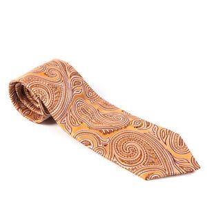 Eterna-Excelente-Corbata-Marron-Dorado-Motivo-Cachemira-Seda-Bw-683