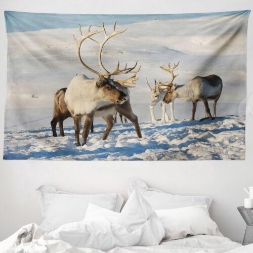 Winter Mikrofaser Breiter Wandteppich Rentiere Norwegen Caribou