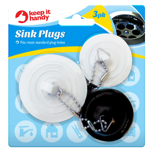 3 x SINK PLUG Universal Kitchen Bathroom Stopper Rubber Basin Bath ...