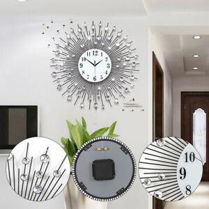 Details about 60x60cm Modern Luxury Large Art Round Diamond Wall Clock  Living Room Decor TOP