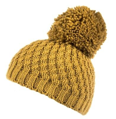 Mustard Yellow Diagonal Cable Knit Bobble Hat With Oversized Pom