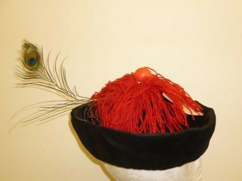 Fancy Dress// Costume Black Hat With Red Tassles And Peacock Feather HW212