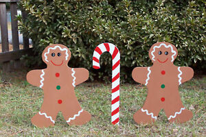Prime Details About Gingerbread Men Set Christmas Yard Art Wood Outdoor Christmas Decoration 3Pc New Interior Design Ideas Oteneahmetsinanyavuzinfo