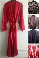 LADIES VARIOUS COLOURS SATIN LONG DRESSING GOWN/ROBE IN UK SIZES 8-24