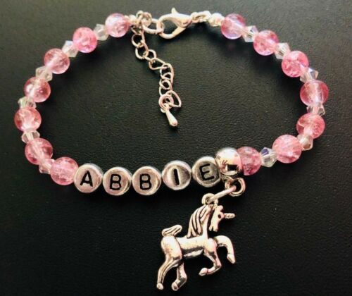 Personalised Girls Pink sparkly Unicorn Bracelet party bags gift girly gift