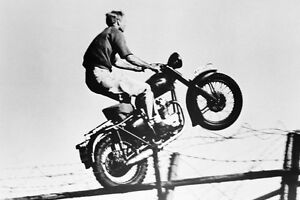 d88931b98570 STEVE MCQUEEN THE GREAT ESCAPE ON BIKE 24X36 POSTER JUMPING FENCE ...