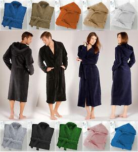 UNI-SEX-500GSM-Combed-Bath-Robe-Terry-Towelling-Shawl-Collar-amp-Hooded-Bathrobe