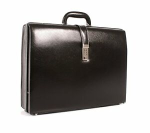 Executive New Slim Attache Case Faux Leather Expandable Briefcase Office Bag