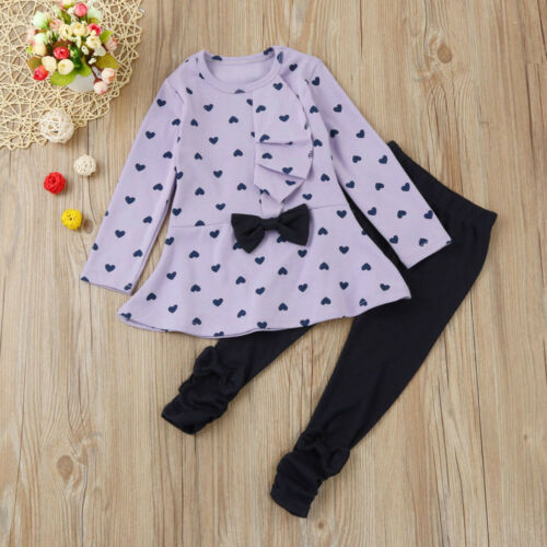 2PCS Toddler Kids Baby Girl Heart Bow Tops T-shirt+Pants Trousers Outfit Clothes