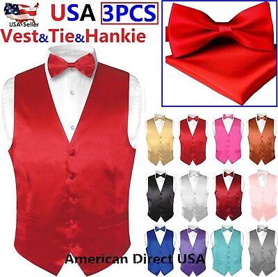 New Men/'s Solid Tuxedo Vest Waistcoat /& Pre-tied Set Necktie Burgundy