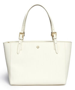 TORY-BURCH-Emerson-Small-Buckle-Tote-New-Ivory-104-White-49127