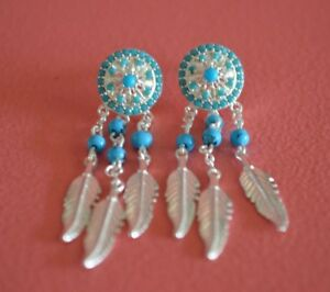 925-Sterling-Silver-Reconstructed-Turquoise-amp-CZ-Dream-Catcher-Stud-Earrings