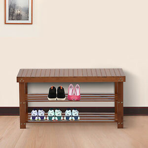 entryway benches with storage organizing | Wood Shoe Bench Seat 2 Shelf Rack Organizer Storage ...