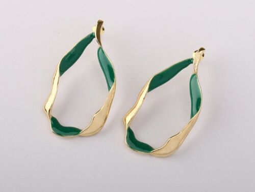Vintage design Womens Twisted Gold-Color Teardrop 2 tones green Pierced Earrings