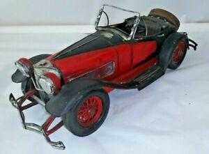 1930s Red Car coupe - Tin Metal Car - Red & Black Vintage MAY BE ALFA ROMEO