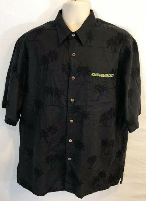 Reyn Spooner Men's Large L Oregon Ducks OU Football Hawaiian Floral Cotton Shirt