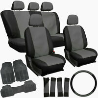 Faux Leather Gray Black Seat Cover Set + Rubber Floor Mats Car Suv Truck Van on sale