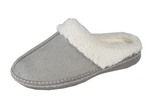 Womens Ladies Micro Suede Luxury Fur Mules Slippers Open Back Zedzzz 3 4 5 6 7 8