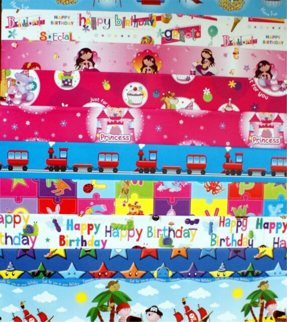 Kids Birthday Paper 10 Sheets Children/'s Mixed Birthday Wrapping Paper