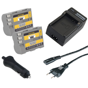 2x Batteria Patona caricabatterie casa//auto per Nikon D300 SLR,D300,D300s SLR