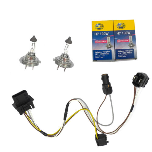 L //R Headlight Wiring Harness and H7 100W Headlight Bulb For E430 E500 E55 Benz