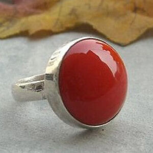 Red Coral Ring 925 Sterling Silver Ring Handmade Ring Boho Ring All Size KA-24