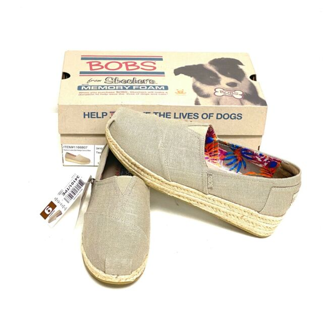 Skechers Ladies Bob Wedge Canvas Shoe