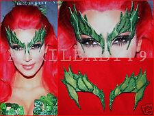 Poison Ivy Mask Leaves GREEN w/ Glitter Trim Leaf  Comic Con Cosplay Fairy Elf