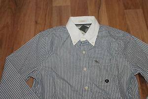 Abercrombie-amp-Fitch-camisa-de-manga-larga-para-hombre-Gris-Blanco-Talla-M