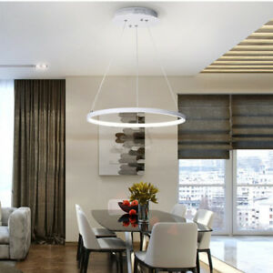 LED-Modern-Circular-Ring-Pendant-Ceiling-Light-Acrylic-Aluminum-Chandelier-US