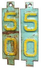 Wisconsin 1950 Tab Pair License Plate Garage Vtg 1950s Old Car Auto Tags Renewal