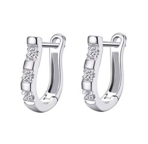 Image Is Loading Fashion Crystal Small Silver Hoop Stud Earrings Uk