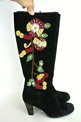 Fringe Tassel Womens Embroidery Moccasin Pull on Knee High Boots Boho Shoes Chic