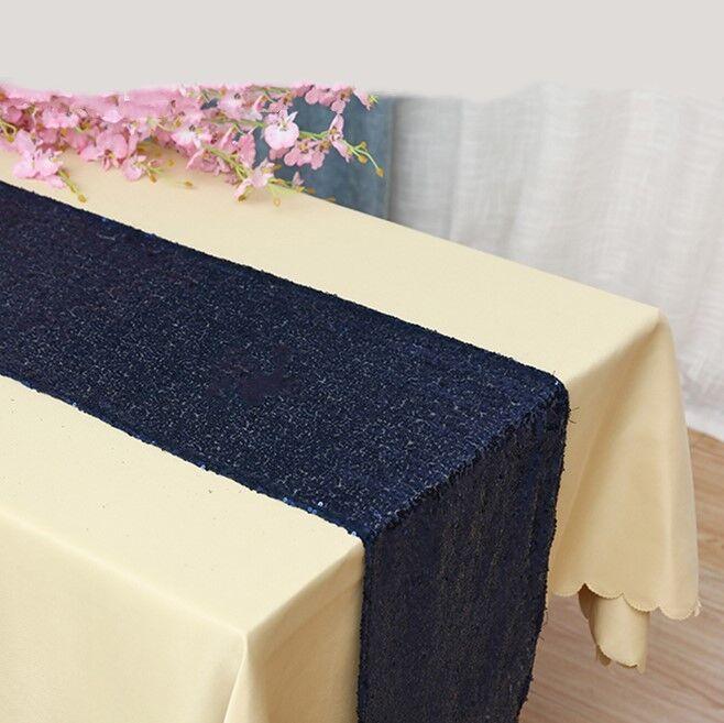 Navy bleu glitter sequin table runner wedding anniversary party cake table decor