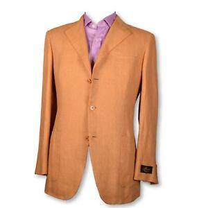 NWT-BELVEST-Orange-Creamsicle-Patch-Pocket-PURE-LINEN-Sportcoat-Blazer-Jacket-40