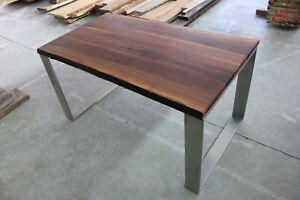 Designer-Esstisch-Nussbaum-Massiv-Holz-NEU-Tisch-Beistelltisch-Edelstahl-Gestell