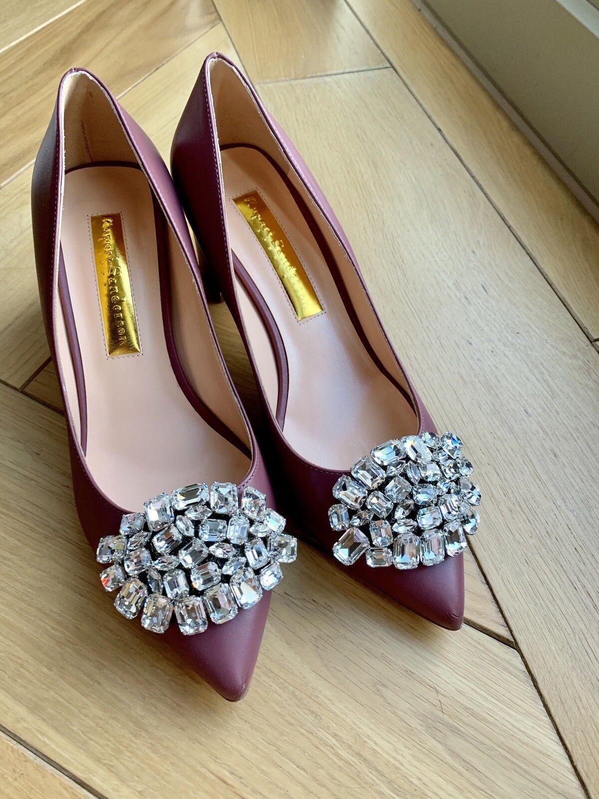Rupert Sanderson Clava mid heels Brown pink Jewel Pebble EU37.5 wedding