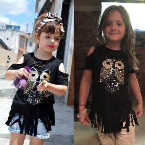 e5cf6ddcc5864 Children Kid Girls Tassel Blouse Tops Casual Long T-shirt Dress ...