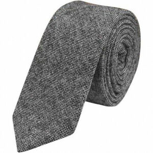 Gris-Charbon-Hommes-Laine-Tweed-Skinny-Cravate-Excellent-Qualite-amp-Reviews-UK