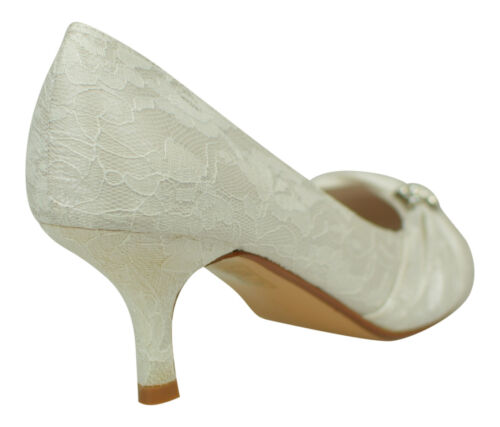 WOMENS IVORY LACE WEDDING BRIDAL LADIES PROM LOW HEEL BRIDESMAID EVENING SHOES