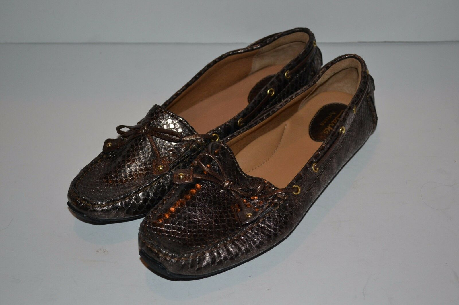 Clarks Dunbar Cruiser Womens Size 8.5 Bronze LEATHER LEATHER LEATHER Loafers FLATS shoes  145 40030a