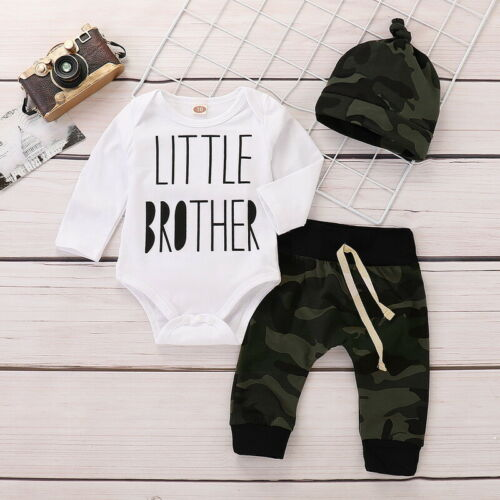 Infant Baby Boys Camouflage Clothes Outfits Romper Bodysuit Pants Hat 3PCS Set