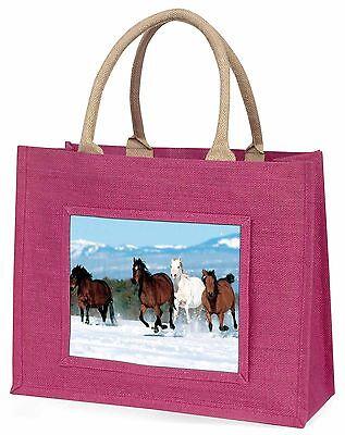 Laufende Pferde im Schnee Große Rosa Einkaufstasche Weihnachten Geschenkidee,