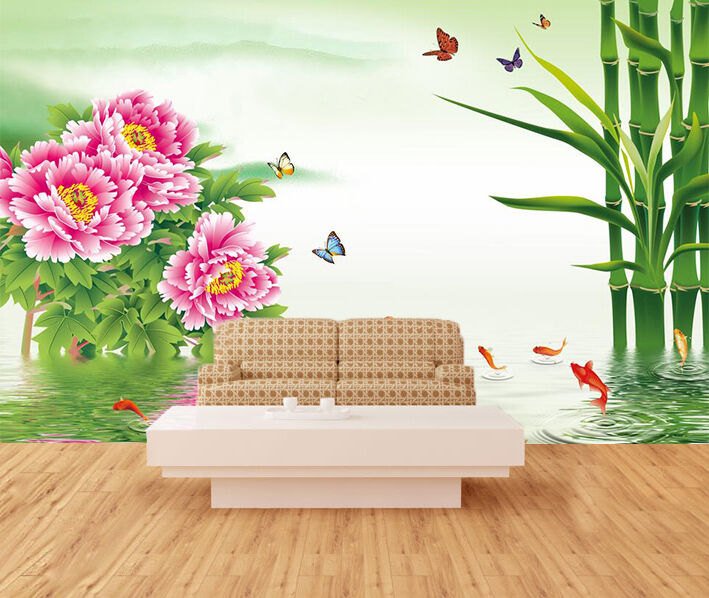 3D Lake Flowers Bamboos 71 Wallpaper Decal Dercor Home Kids Nursery Mural  Home