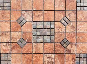 X Tile Medallion Daltile Reddish Tile Slate Floor - 18 x 24 slate tile